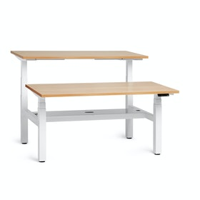 "Loft Adjustable Height Standing Double Desk for 2, Light Walnut, 57"", White Legs,Light Walnut,hi-res"