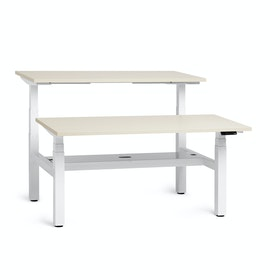 "Loft Adjustable Height Standing Double Desk for 2, Light Bamboo, 57"", White Legs,Light Bamboo,hi-res"