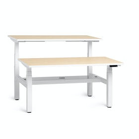 "Loft Adjustable Height Standing Double Desk for 2, Light Maple, 57"", White Legs,Light Maple,hi-res"