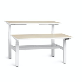 "Loft Adjustable Height Standing Double Desk for 2, Light Pine, 57"", White Legs,Light Pine,hi-res"