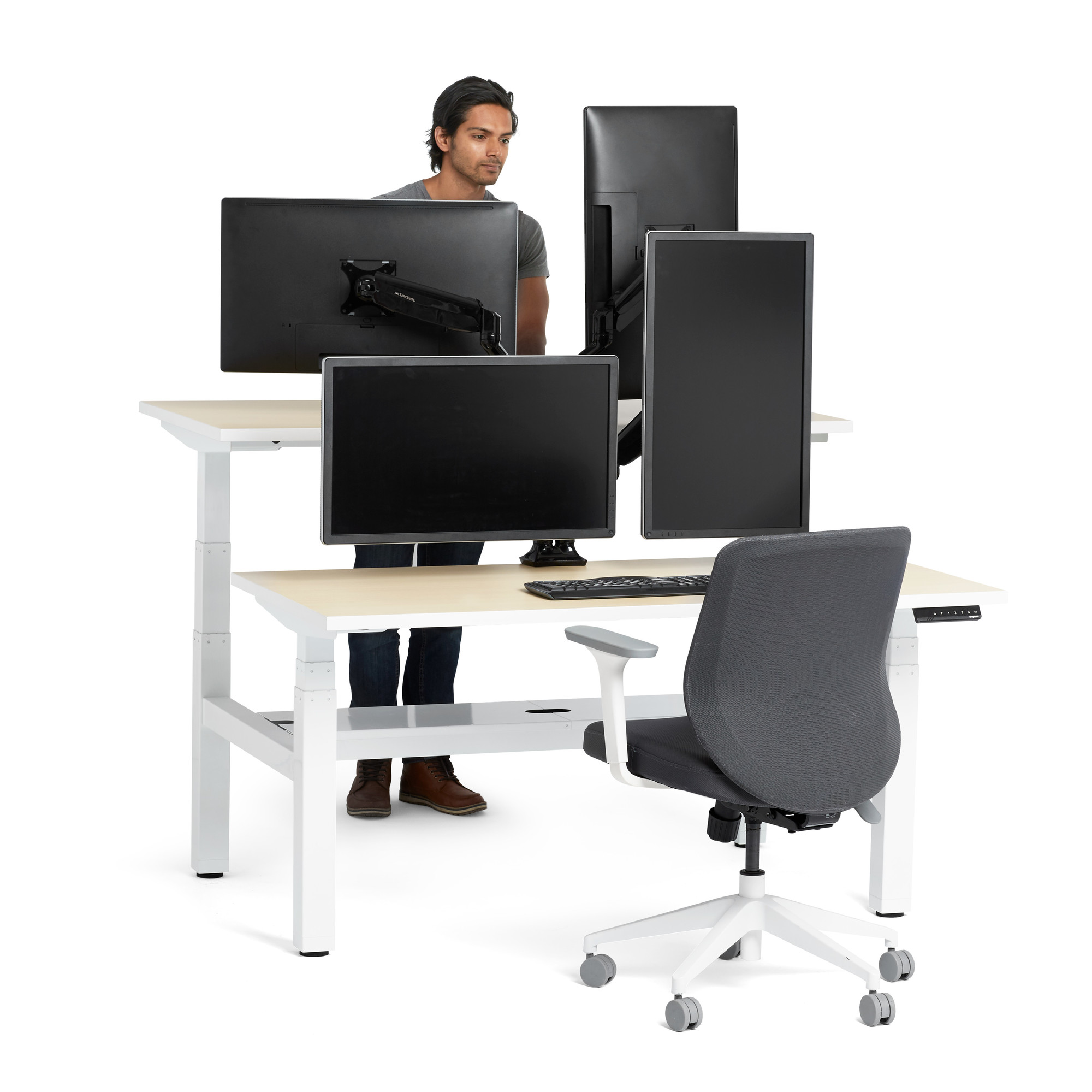 """Loft Adjustable Height Standing Double Desk Light Oak 57"""" White"""