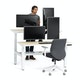 """Loft Adjustable Height Standing Double Desk for 2, Light Oak, 57"""", White Legs,Light Oak,hi-res"""