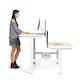 """Loft Adjustable Height Standing Double Desk for 6, Dark Walnut, 47"""", White Legs,Dark Walnut,hi-res"""