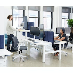 "Loft Adjustable Height Standing Double Desk, White, 57"",White,hi-res"