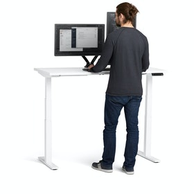 "Loft Adjustable Height Standing Single Desk, White, 57"", White Legs,White,hi-res"