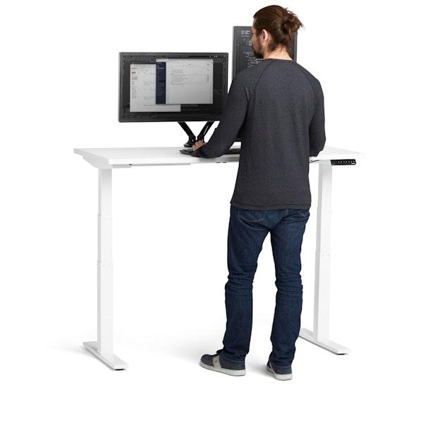 """Loft Adjustable Height Standing Single Desk, White, 57"""", White Legs,White,hi-res"""