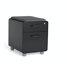 Mini Stow File Cabinet w/ Casters and Pad, Black,Black,hi-res