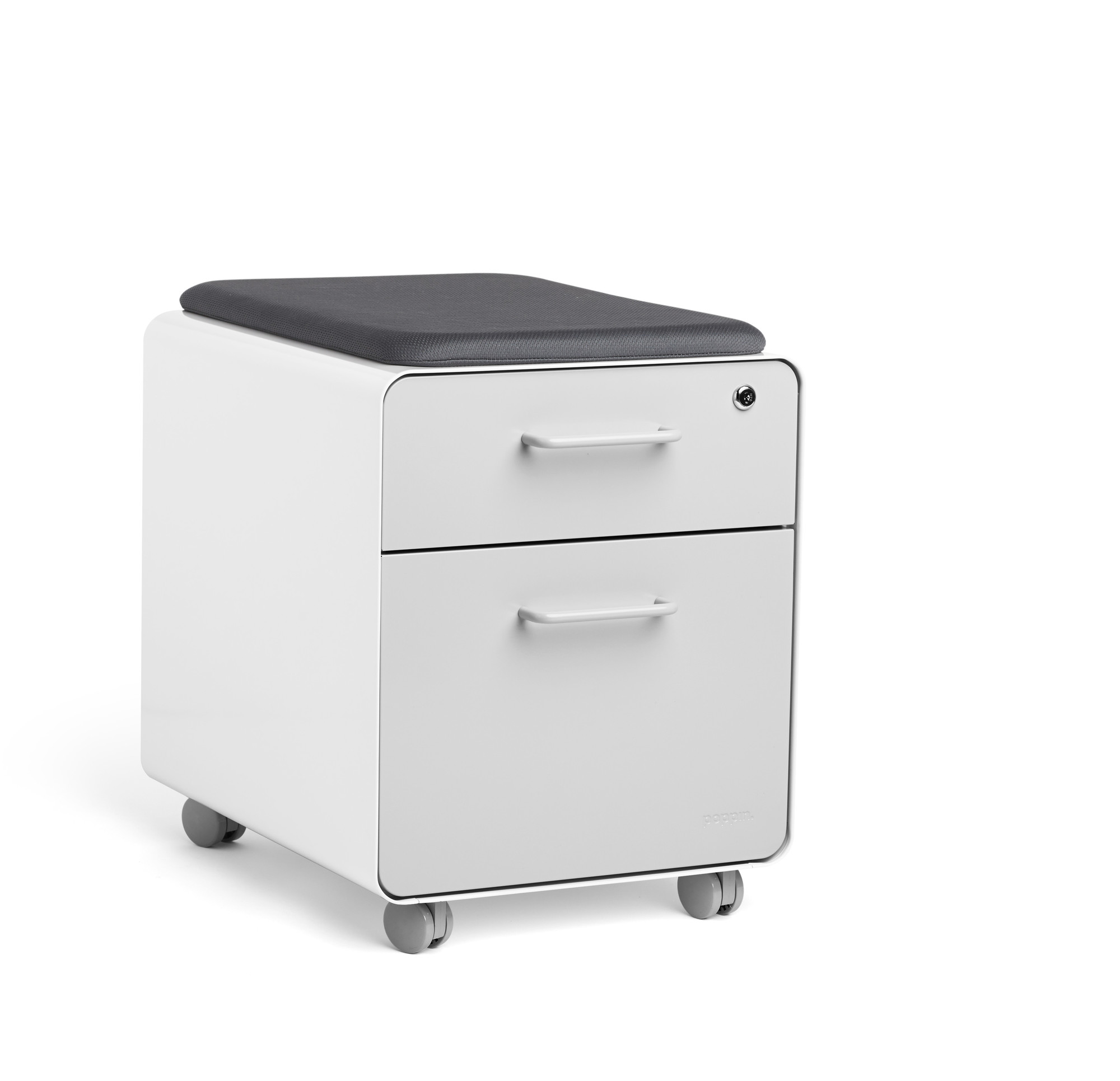 White + Light Gray Mini Stow 2-Drawer File Cabinet, Rolling | 2 ...