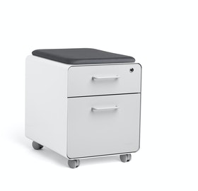 Mini Stow File Cabinet w/ Casters and Pad, White+Light Gray,Light Gray,hi-res