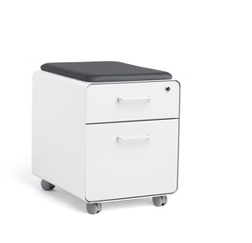Mini Stow File Cabinet w/ Casters and Pad, White,White,hi-res