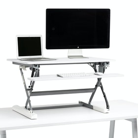 White Medium Peak Adjustable Height Standing Desk Riser,White,hi-res