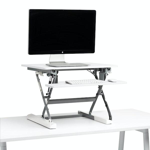 White Small Peak Adjustable Height Standing Desk Riser,White,hi-res