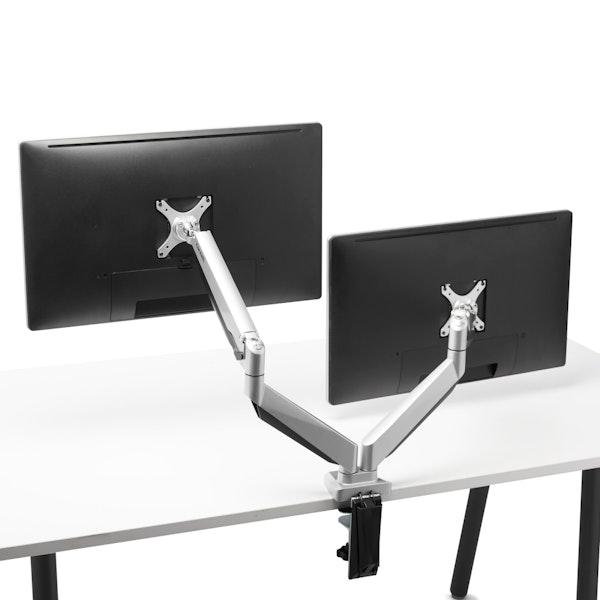 Silver Dual Heavy-Duty LCD Monitor Arm,,hi-res