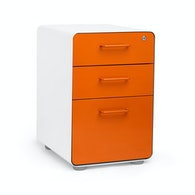 White + Orange Stow 3-Drawer File Cabinet,Orange,hi-res