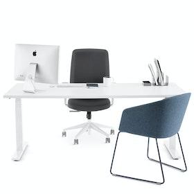 """Loft Single Desk, White, 72"""", White Legs,White,hi-res"""