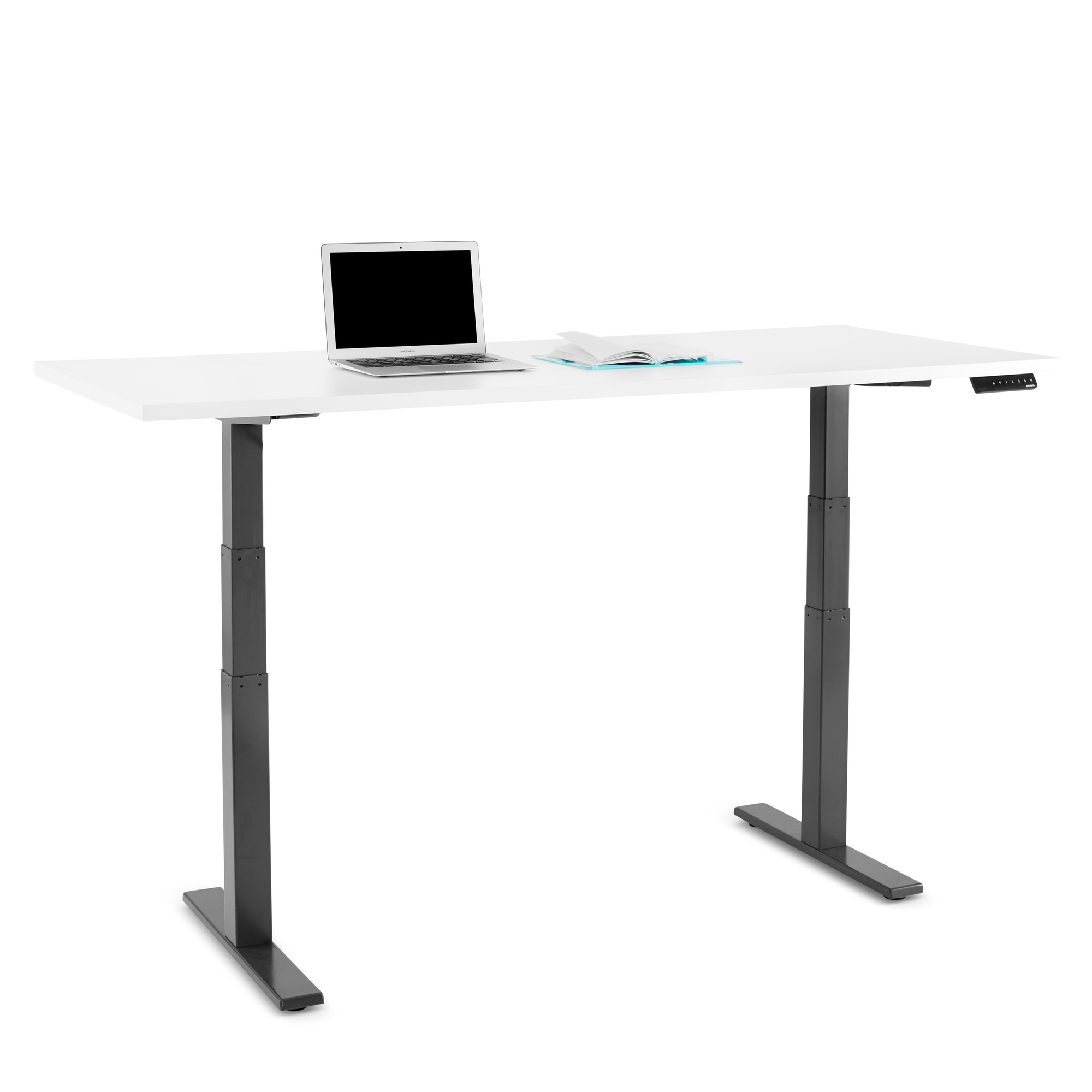 loft adjustable height table white 72 x 30 charcoal legs - Adjustable Height Computer Desk