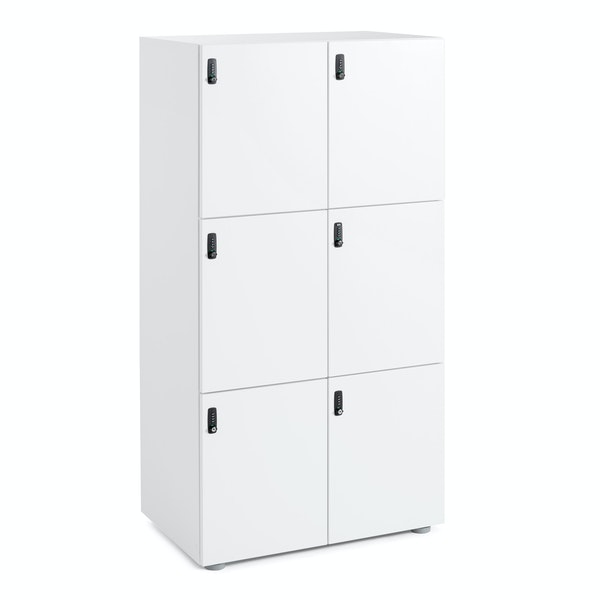 White Stash 6-Door Locker,White,hi-res