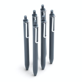 Dark Gray Retractable Gel Luxe Pens w/ Black Ink, Set of 6,Dark Gray,hi-res