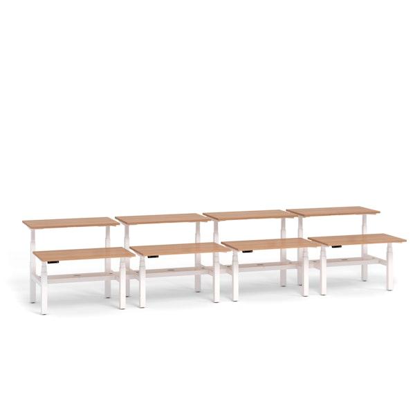 """Loft Adjustable Height Standing Double Desk for 8, Dark Walnut, 47"""", White Legs,Dark Walnut,hi-res"""
