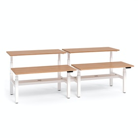 "Loft Adjustable Height Standing Double Desk for 4, Light Walnut, 57"", White Legs,Light Walnut,hi-res"