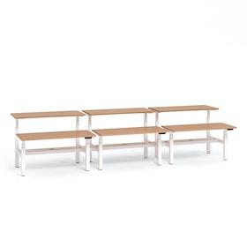 "Loft Adjustable Height Standing Double Desk for 6, Light Walnut, 57"", White Legs,Light Walnut,hi-res"