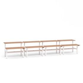 "Loft Adjustable Height Standing Double Desk for 8, Light Walnut, 57"", White Legs,Light Walnut,hi-res"