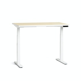 "Loft Adjustable Height Standing Single Desk, Light Oak, 47"", White Legs,Light Oak,hi-res"