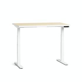 """Loft Adjustable Height Standing Single Desk, Light Oak, 47"""", White Legs,Light Oak,hi-res"""