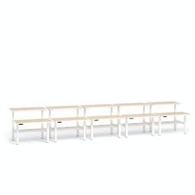 """Loft Adjustable Height Standing Double Desk for 10, Light Oak, 47"""", White Legs,Light Oak,hi-res"""