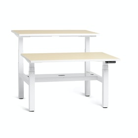 "Loft Adjustable Height Standing Double Desk for 2, Light Oak, 47"", White Legs,Light Oak,hi-res"