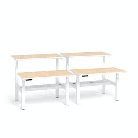 """Loft Adjustable Height Standing Double Desk for 4, Light Oak, 47"""", White Legs,Light Oak,hi-res"""