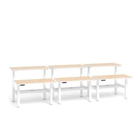 """Loft Adjustable Height Standing Double Desk for 6, Light Oak, 47"""", White Legs,Light Oak,hi-res"""