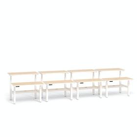 """Loft Adjustable Height Standing Double Desk for 8, Light Oak, 47"""", White Legs,Light Oak,hi-res"""