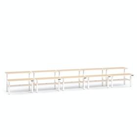 """Loft Adjustable Height Standing Double Desk for 10, Light Oak, 57"""", White Legs,Light Oak,hi-res"""