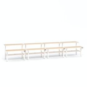 """Loft Adjustable Height Standing Double Desk for 8, Light Oak, 57"""", White Legs,Light Oak,hi-res"""