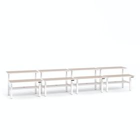 "Loft Adjustable Height Standing Double Desk for 8, Light Pine, 57"",Light Pine,hi-res"