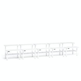 """Loft Adjustable Height Standing Double Desk for 10, White, 47"""", White Legs,White,hi-res"""