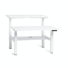 "Loft Adjustable Height Standing Double Desk for 2, White, 47"", White Legs,White,hi-res"