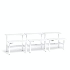 """Loft Adjustable Height Standing Double Desk for 6, White, 47"""", White Legs,White,hi-res"""