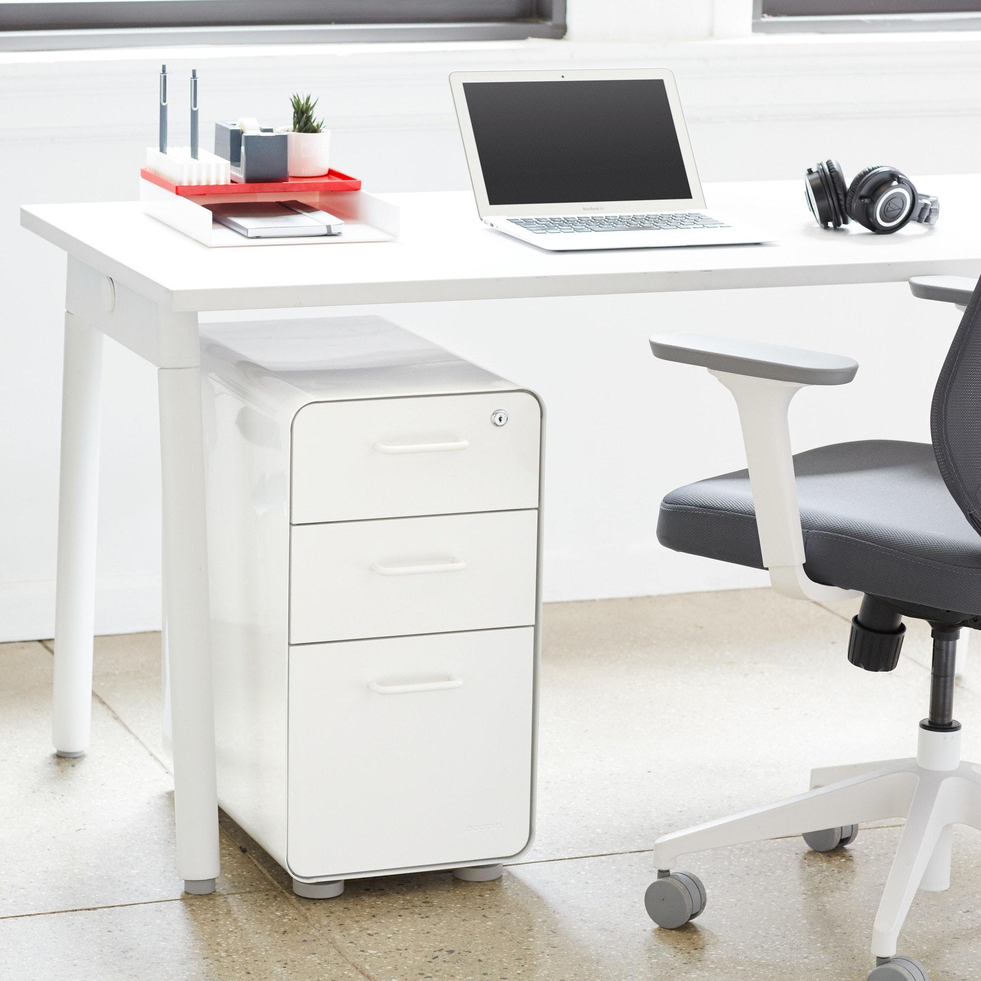 White + Light Gray Slim Stow 3 Drawer File Cabinet, Rolling,Light Gray ...