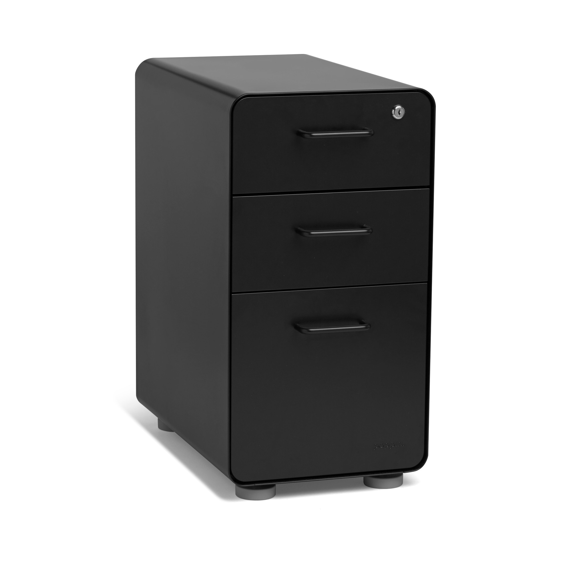 Black Slim Stow 3 Drawer File Cabinet,Black,hi Res. Loading Zoom
