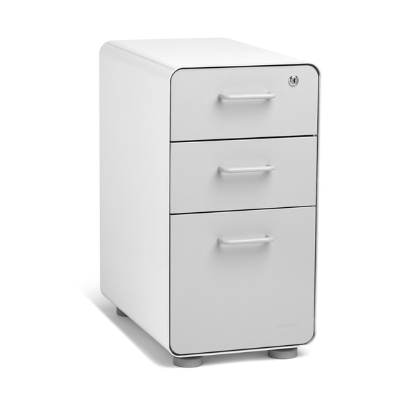 White + Light Gray Slim Stow 3-Drawer File Cabinet,Light Gray,hi-res