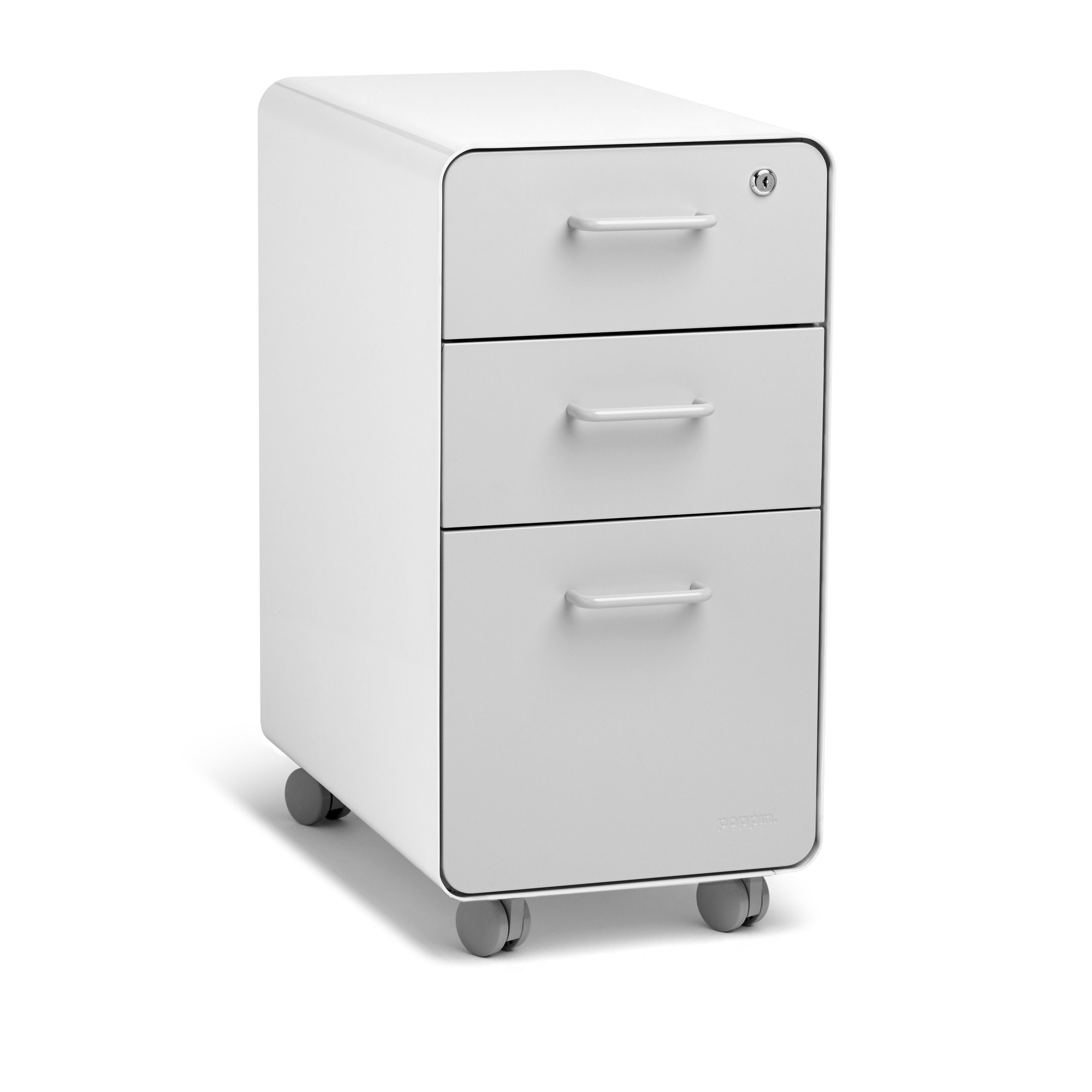... White + Light Gray Slim Stow 3 Drawer File Cabinet, Rolling,Light Gray