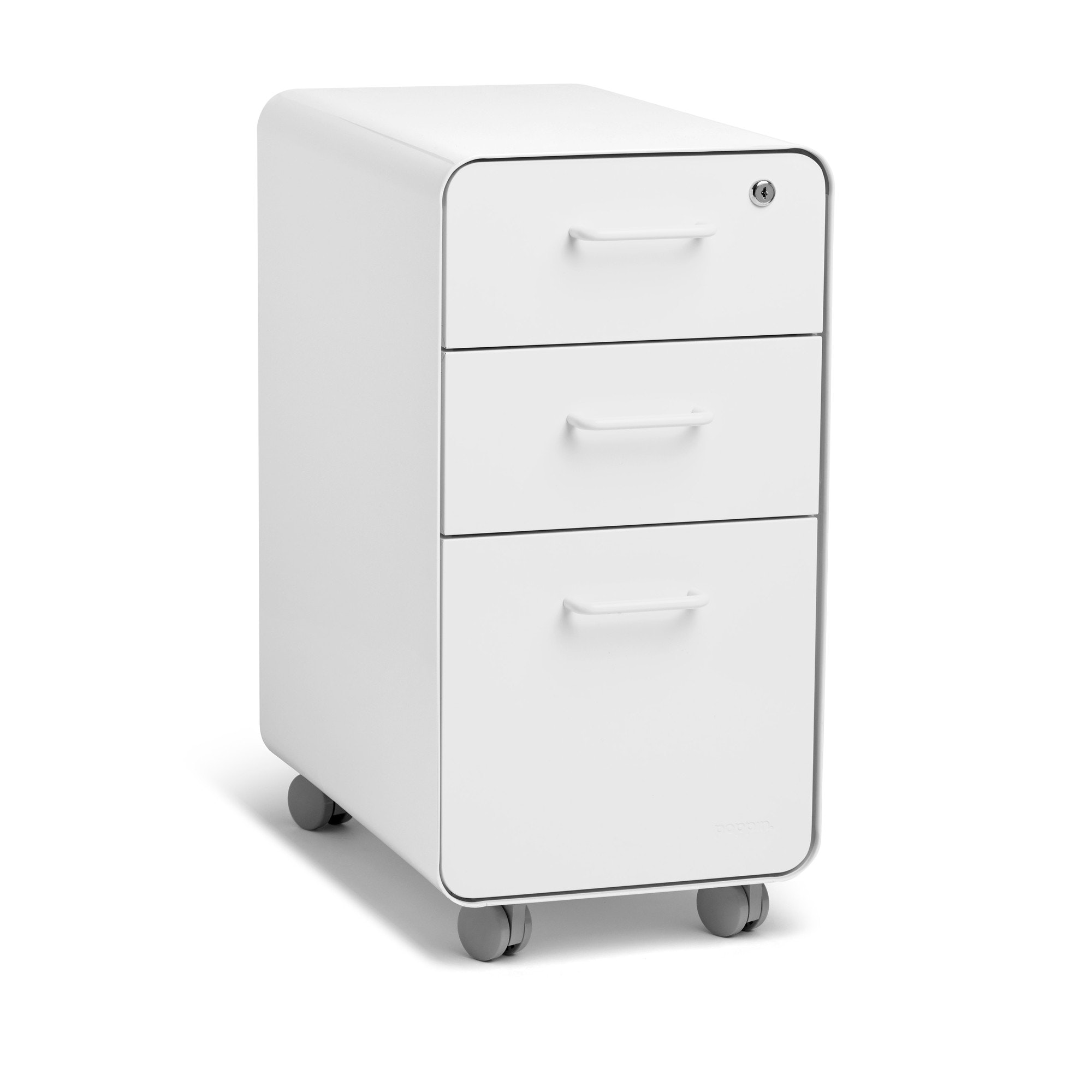 ... White Slim Stow 3 Drawer File Cabinet, Rolling,White,hi Res