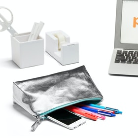 Silver + Aqua Medium Accessory Pouch,Silver,hi-res