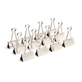 "Silver Large 1.5"" Binder Clips, Box of 12,Silver,hi-res"