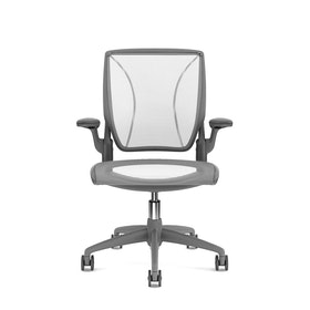 Pinstripe Mesh White World Task Chair, Fixed Arms, Gray Frame,White,hi-res