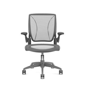 Pinstripe Mesh Gray World Task Chair, Adjustable Arms, Gray Frame,Gray,hi-res