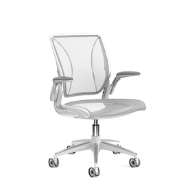 Pinstripe Mesh White World Task Chair, Adjustable Arms, White Frame,White,hi-res