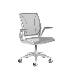 Pinstripe Mesh Gray World Task Chair, Adjustable Arms, White Frame,Gray,hi-res